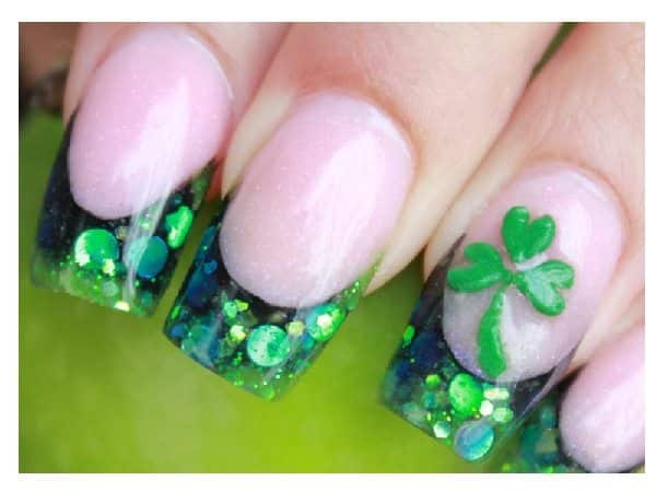 Green Glitter Tips with Rhinestones and Green Shamrock Designs - 11 Stunning Shamrock Nail Designs