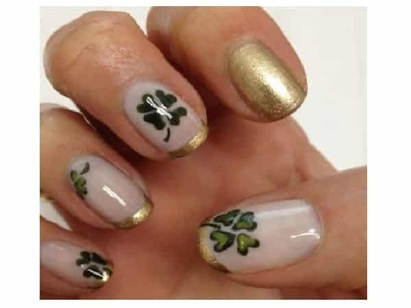 White and Gold Nails with Shamrocks and Gold Tips