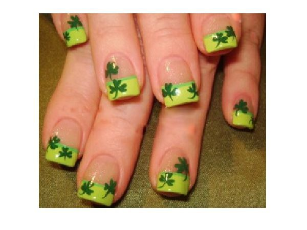 Plain Nails with Light Green Tips Decorated with Shamrocks