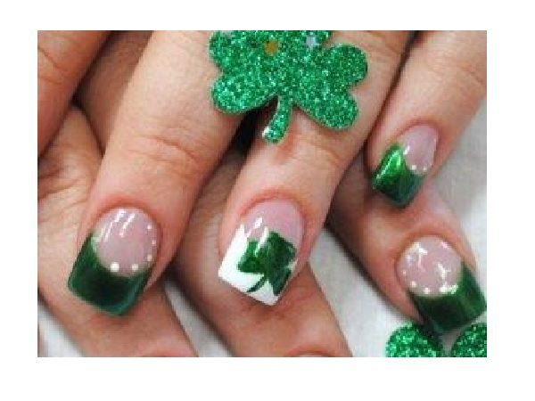 Green and White Tipped Nails with Painted Shamrocks