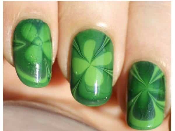 Green Nails with Shamrock Tie Dye Designs