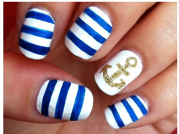 Blue and White Striped Nails with Single White Nail with Gold Anchor