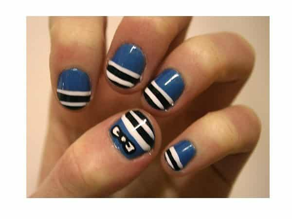 Medium Blue Nails with Black and White Stripes with White Bow
