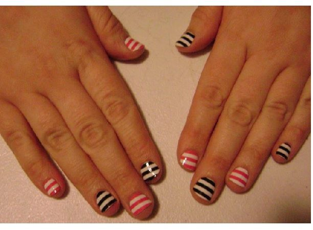 Pink and White Striped Nails and Black and White Striped Nails