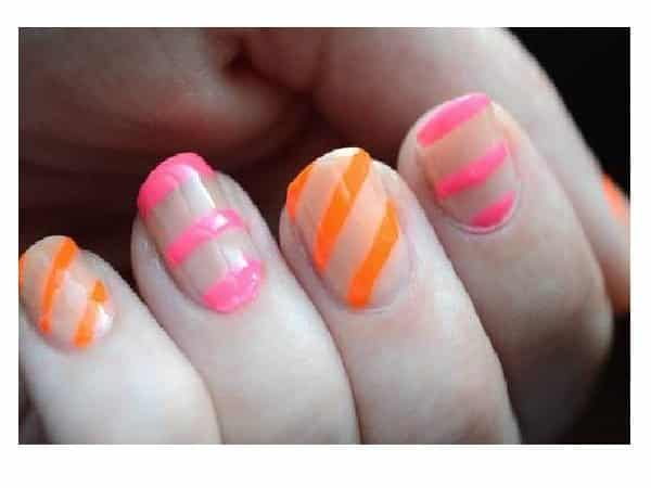 Plain Nails with Orange and Pink Stripes