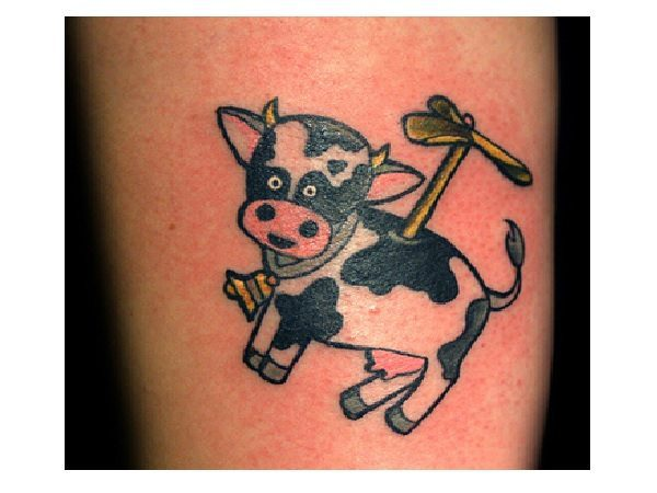Cartoon Cow Helicopter Tattoo