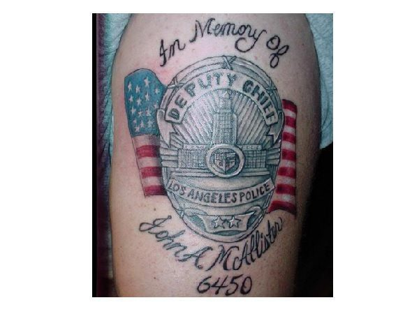 Memorial Badge Tattoo with Flag