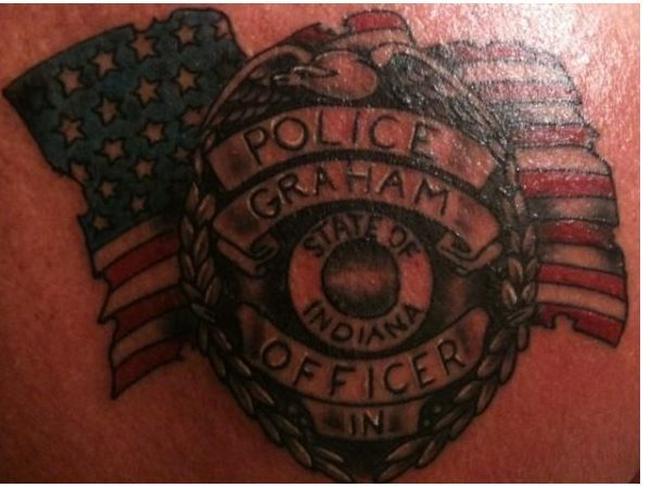 Indiana Police Badge with Flag