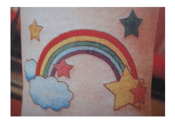 Rainbow Arch Tattoo with Clouds and Stars