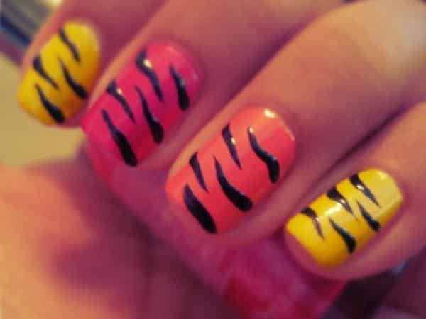 Yellow, Orange, and Red Tiger Stripe Nails