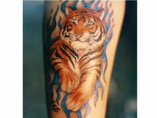 Colored Tiger Tattoo with Blue Lines Tattoo