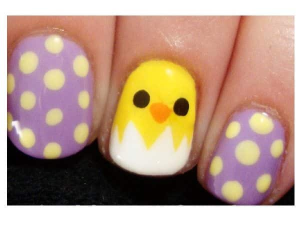 Purple and Yellow Polka Dotted Nails with Baby Chick Hatching Out of the Egg