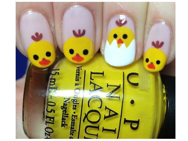 Lavender Nails with Painted Chicks and One Egg Tipped Nail