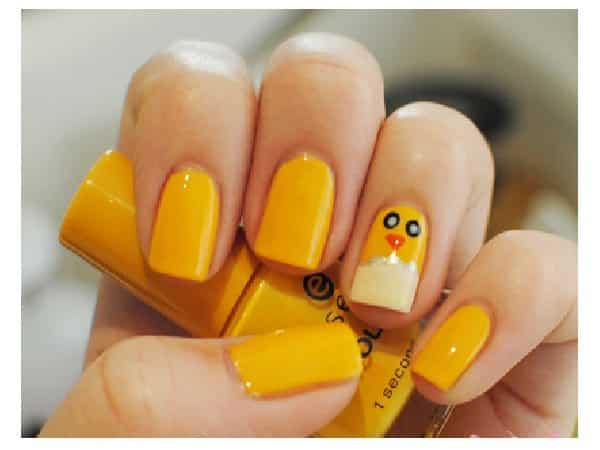 Yellow Nails with Single Baby Chick Nail with Egg Tip