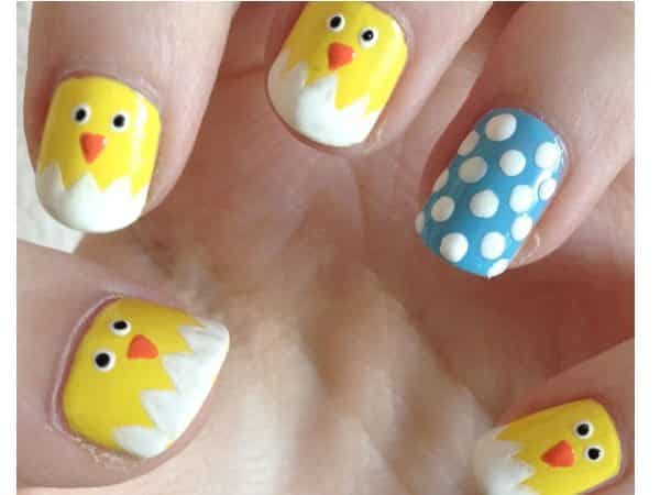 Baby Chick Nails with Single Blue Nail with White Dots