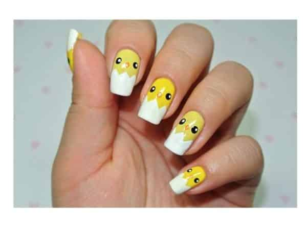 Yellow Baby Chick Nails with Egg Tips