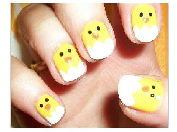 Baby Chick Nails with White Tips