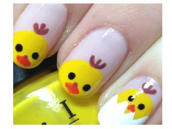 White Nails with Baby Chicks Decorate On Them