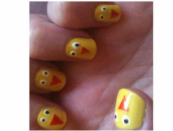 Yellow Baby Chick Nails with Orange Triangle Beaks