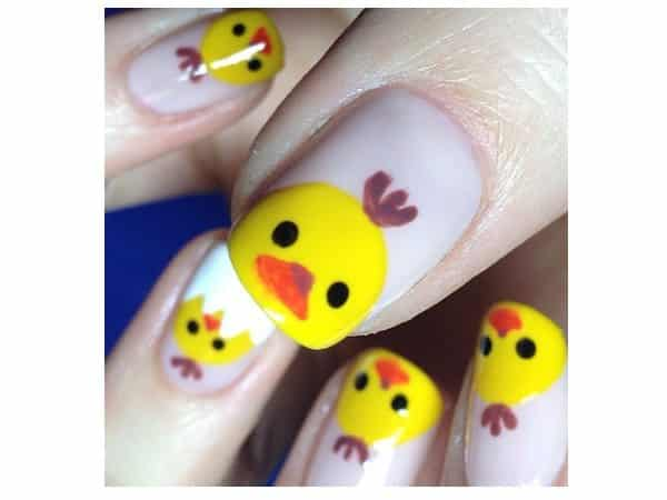 White Nails with Yellow Baby Chick Tips