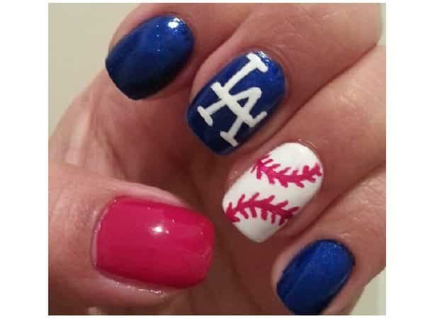 Red, White, and Blue LA Dodger Nails with Single Baseball Nail