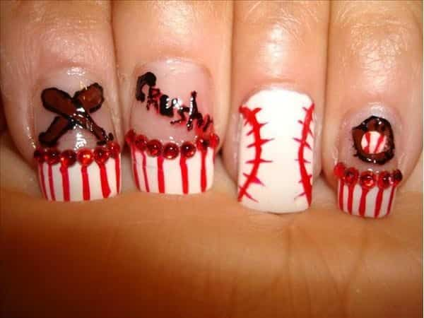 Baseball Nails with Bats, Gloves, and Red Dots and Stripes Decorations