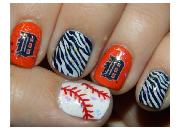 Detroit Tigers Nails with Black and White Zebra Stripes and Orange Nails