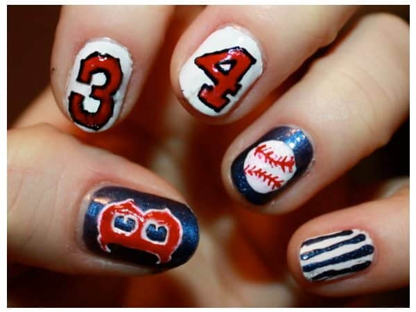 Boston Nails with Baseballs and Numbers