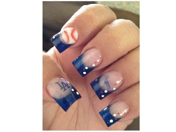 Plain Nails with Blue Tips and Dodger Baseball Decorations