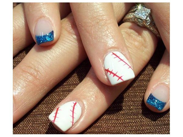 Baseball Nails with Blue Glitter Tips