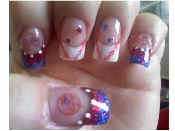 Plain Nails with White Baseball Tips, White Dots, and New York Yankees Decorations with Stars
