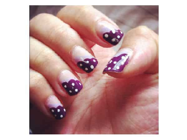 Slanted Purple and White Polka Dots French Manicured Nails