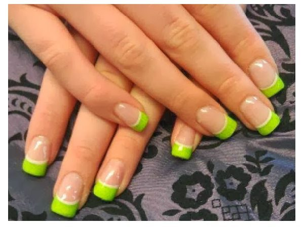 Lime Green French Manicured Tips