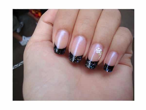 Black Glitter Tipped French Manicured Nails