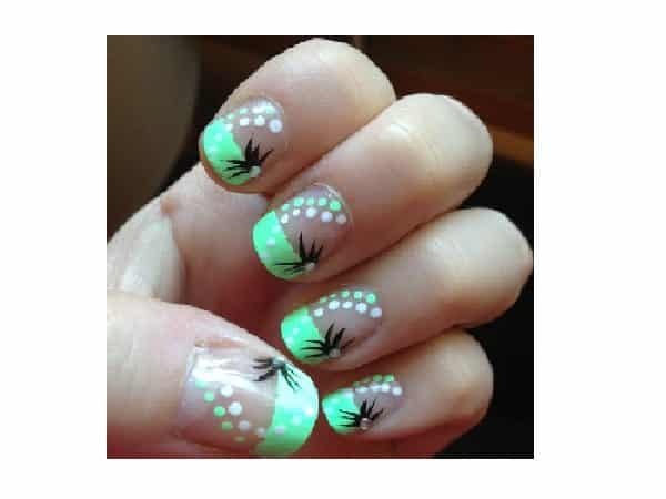 Plain Nails with Light Green French Manicured Tips and Dot Decorations