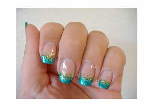 Blue and Gold Glitter Tipped French Manicured Nails