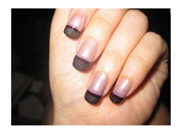 Black Glitter with Pink Nails French Manicured Nails