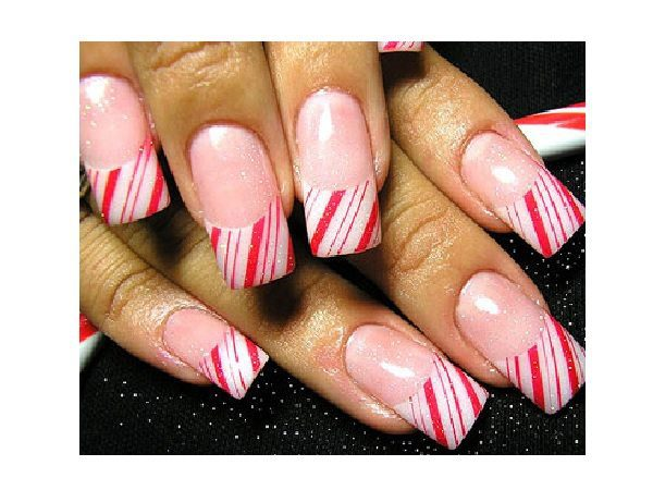 Candy Cane French Manicure Nails