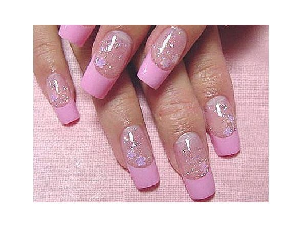 Pink and Glitter Plain Nails French Manicured Nails