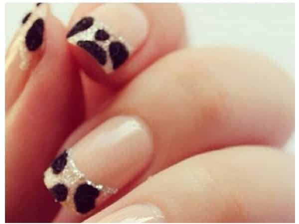 Cow Colored French Manicured Nail Tips