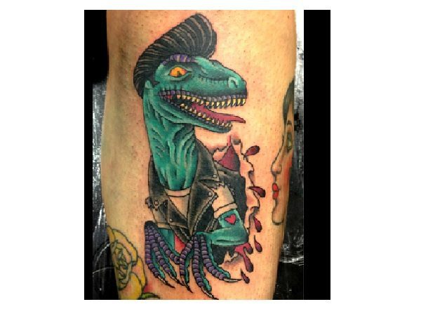 Dinosaur with Hair and Leather Jacket Tattoo