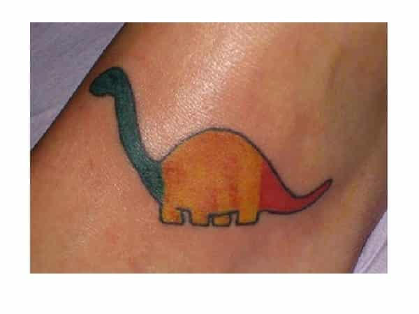 Colored Brontosaurus Cartoon Tattoo