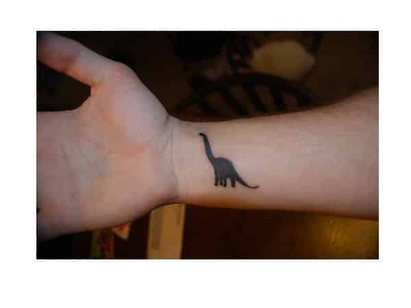 Tiny Brontosaurus Wrist Tattoo