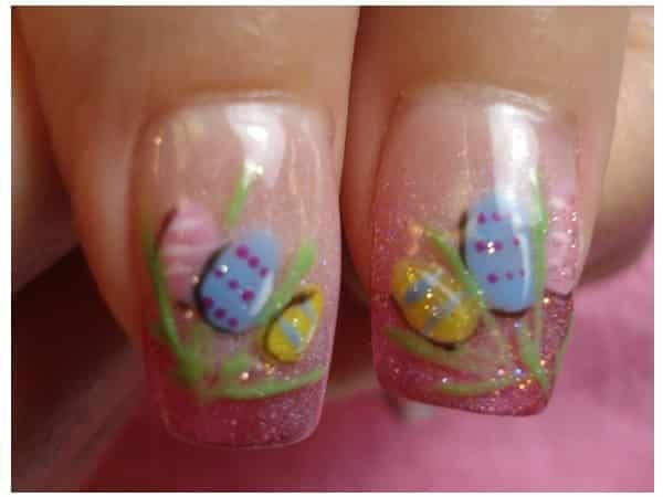 Plain Light Pink Glitter Nails with Easter Eggs and Green Grass