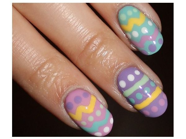 Light Blue, Lavender, and Pale Easter Egg Nails with Yellow Lines, and Multicolored Dots