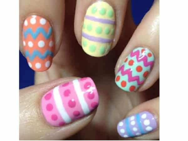 Orange, Yellow, Pink, Green, and Blue Easter Egg Nails