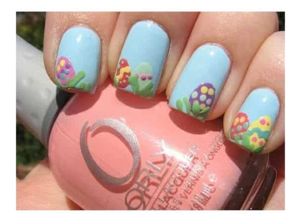 Light Blue Nails with Easter Eggs and Grass Decorations