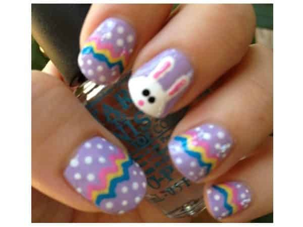 Lavender Nails with Stripes, Dots, and Bunny Decorations