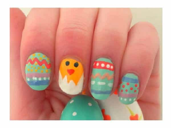 Green Easter Egg Nails with Hatching Yellow Chick