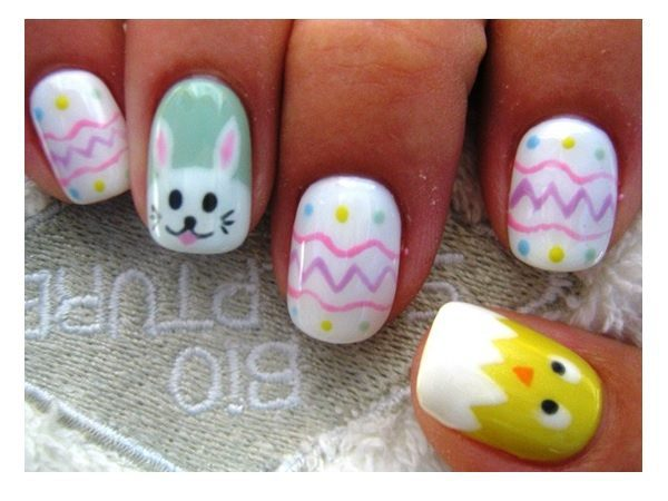 White Easter Egg Nails with Bunny and Chick Decorations